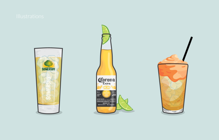 sammy j peppers drink card illustrations